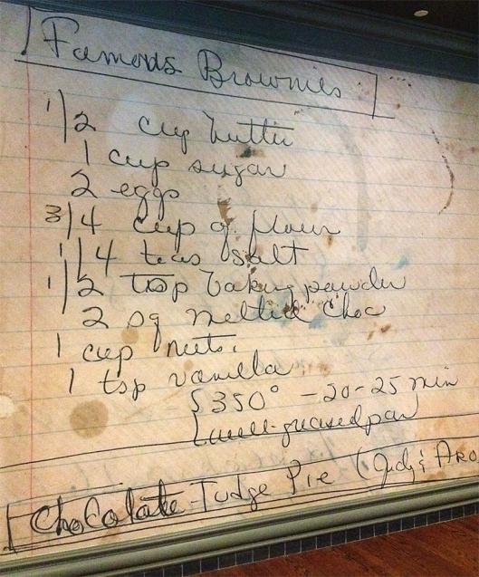 Famous Brownies recipe outside Tupelo Honey's restaurant at Warehouse Row, Chattanooga, Tenn.