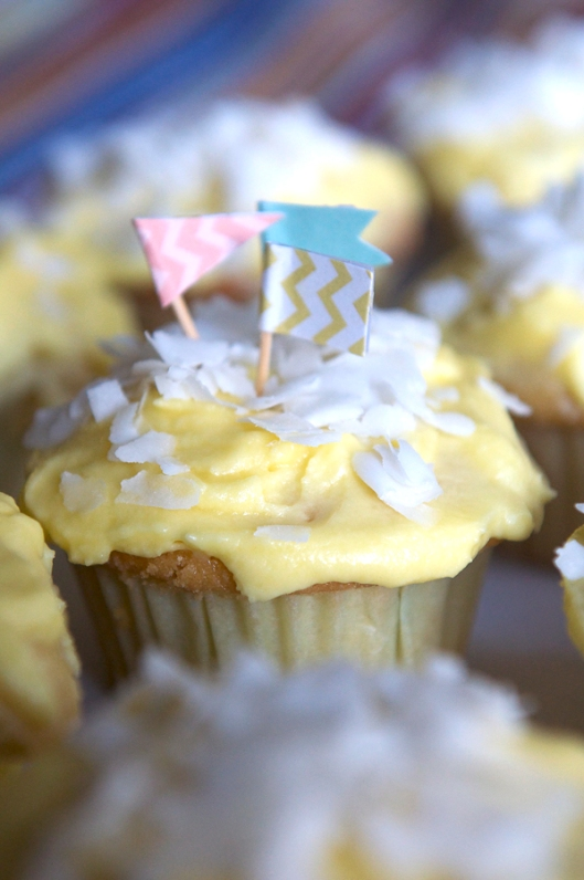 Lemon Cupcakes with Flags